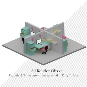 Salle de bureau isométrique illustration 3d