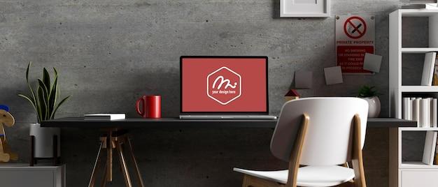 Salle de bureau loft de rendu 3d avec maquette d'ordinateur portable de table de travail