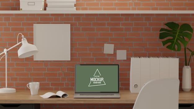 Salle de bureau de rendu 3d avec décorations de classement de papier de bureau d'ordinateur portable