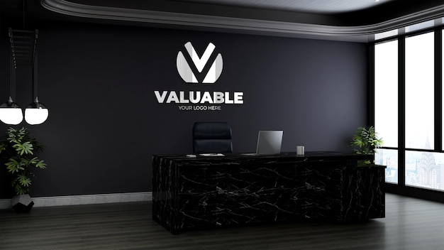 Salle du directeur de bureau pour la maquette de la marque du logo de l'entreprise
