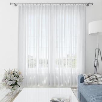 Salle intérieure avec rideaux blancs