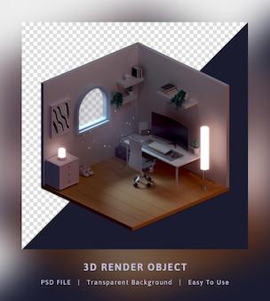 Salle isométrique de concept de modèle de rendu 3d