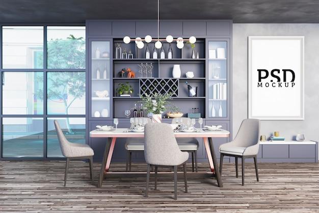 Salle à manger avec armoires décoratives et cadres photo