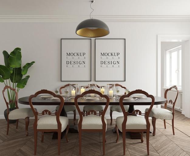 Salle à manger classique moderne avec maquette d'affiche