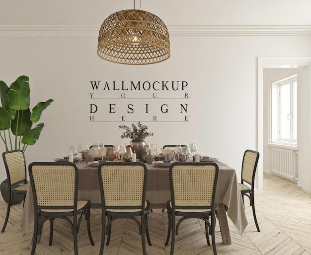 Salle à manger classique moderne avec maquette murale
