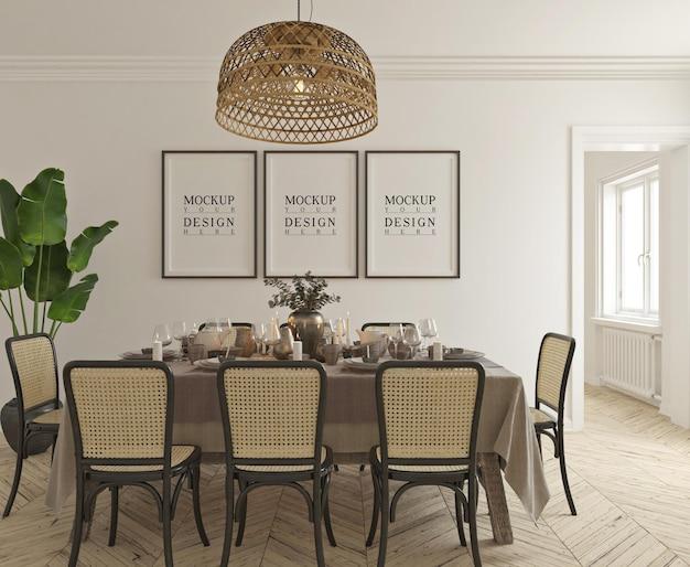 Salle à manger classique traditionnelle avec maquette d'affiche