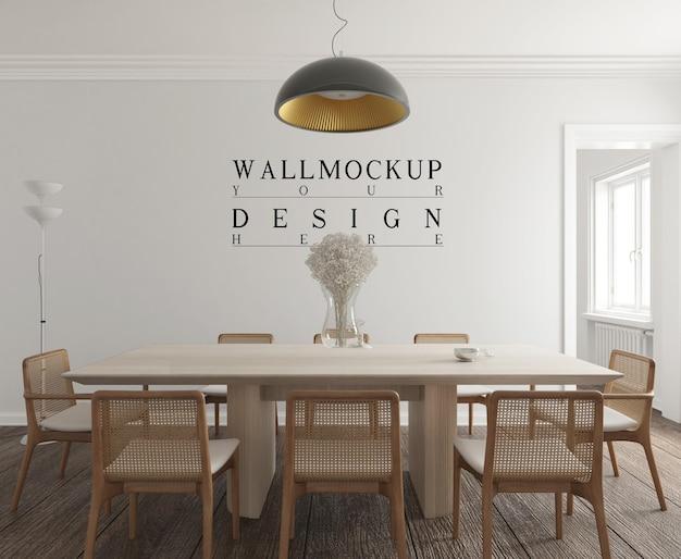Salle à manger contemporaine moderne avec maquette murale