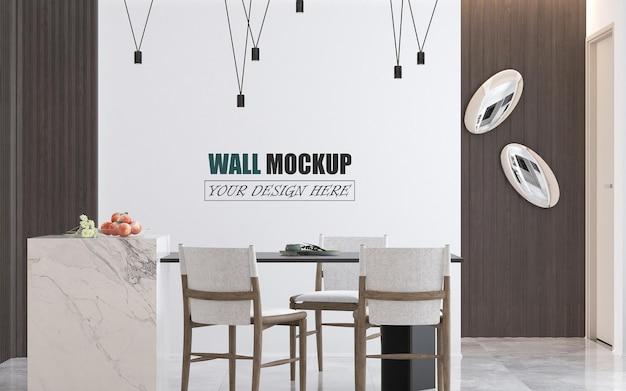 Salle à manger avec maquette de mur de meubles modernes