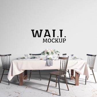 Salle à manger moderne avec mur de maquette