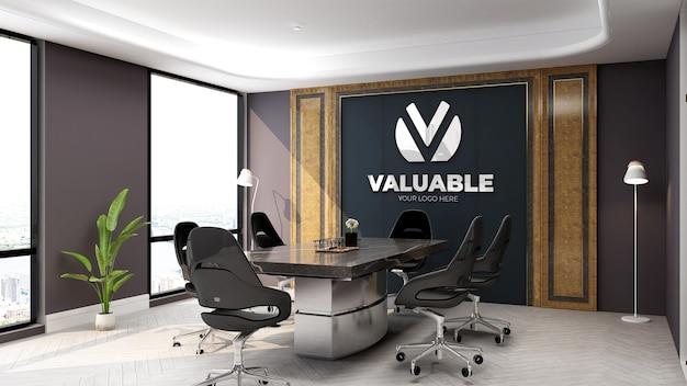 La salle de réunion d'affaires à la maquette du logo 3d du mur du bureau