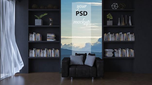 Salon 3d avec mur en cuir.