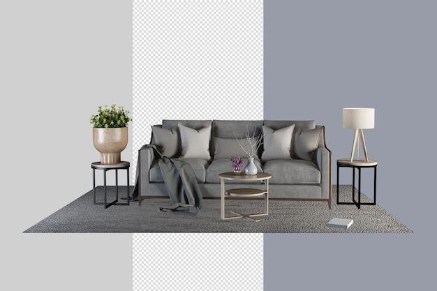Le salon a un canapé et une décoration en rendu 3d