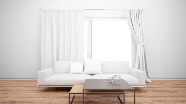 Salon avec canapé minimaliste et grande fenêtre avec rideaux blancs
