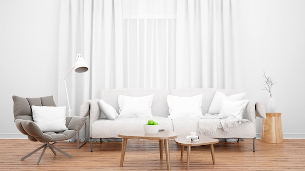 Salon confortable avec un élégant canapé et fauteuil et une grande fenêtre