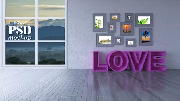 Salon de design d'intérieur avec maquette d'image et maquette de vue