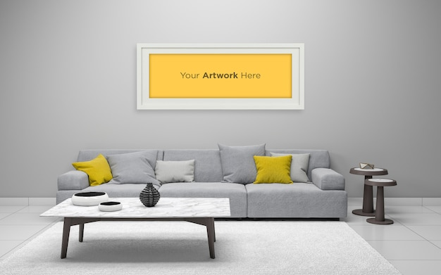 Salon intérieur cadre photo vide conception de maquette