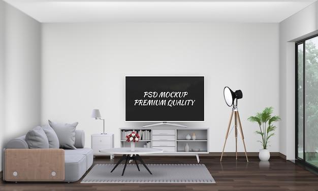 Salon intérieur avec canapé, plante, lampe, smart tv., rendu 3d