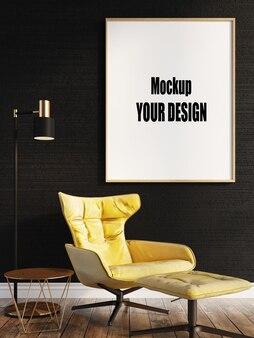 Salon intérieur maison étage modèle arrière-plan cadre maquette design espace copie rendu 3d