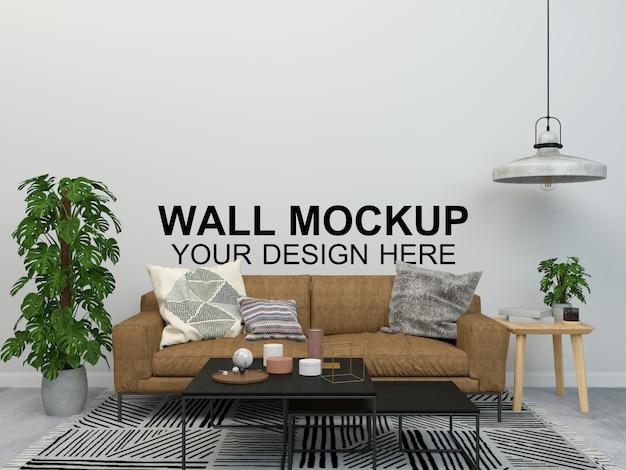Salon intérieur maison maquette fond de meubles de plancher, conception minimaliste copie espace modèle psd