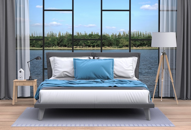 Salon intérieur et paysage fluvial