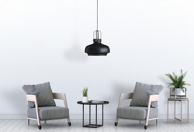 Salon intérieur avec rendu 3d de fauteuil