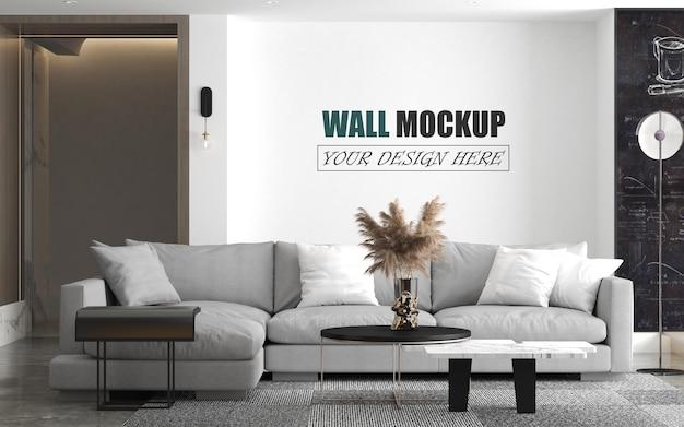 Salon avec maquette de mur de style design moderne