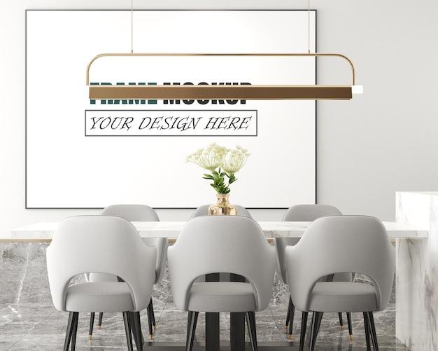 Salon moderne avec cadre photo comme maquette de cadre en surbrillance