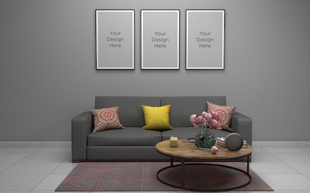 Salon moderne avec canapé et cadres
