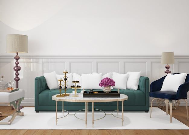 Salon moderne avec canapé et coussins de maquette