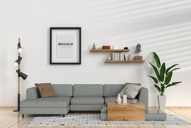 Salon moderne avec canapé et maquette de cadre