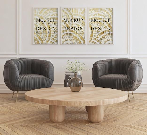 Salon moderne avec fauteuils avec affiche maquette