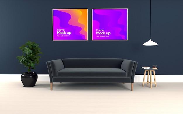 Salon moderne intérieur avec canapé et maquette de table