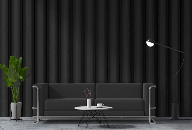 Salon moderne intérieur avec canapé, plante, lampe