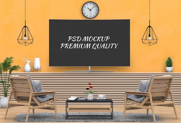 Salon moderne intérieur avec smart tv, meuble et fauteuil.