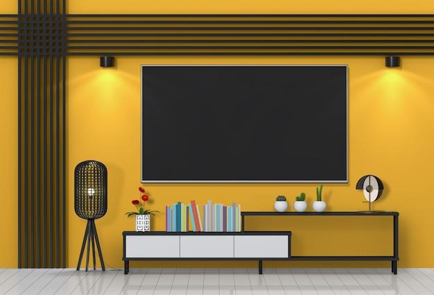Salon moderne intérieur avec smart tv, meuble.