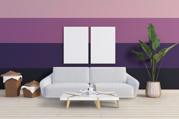 Salon avec mur coloré et cadre de maquette