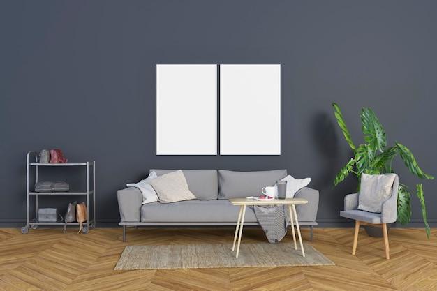 Salon avec murs et cadres bleu-gris