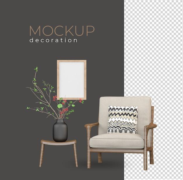 Salon en rendu avec intérieur moderne