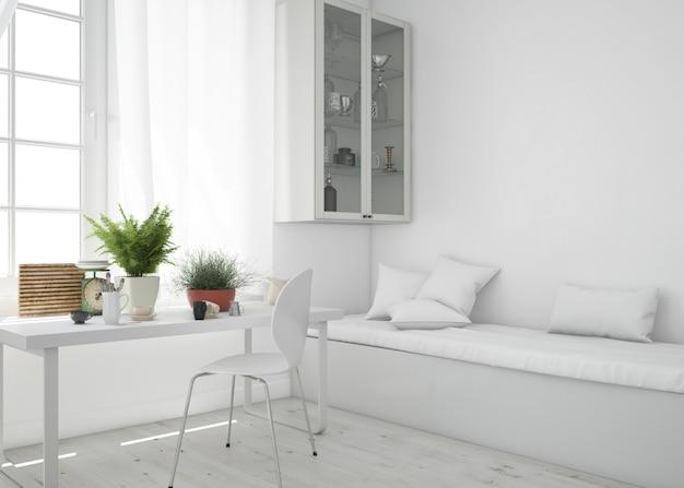 Salon avec table et maquette de canapé