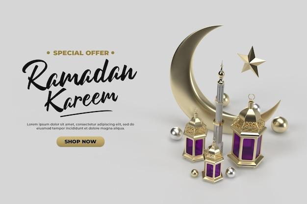 Salutations de célébration du ramadan islamique modèle de rendu 3d or