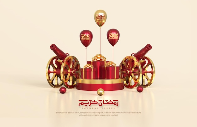 Salutations du ramadan islamique, composition avec canon traditionnel 3d et coffrets cadeaux sur podium rond