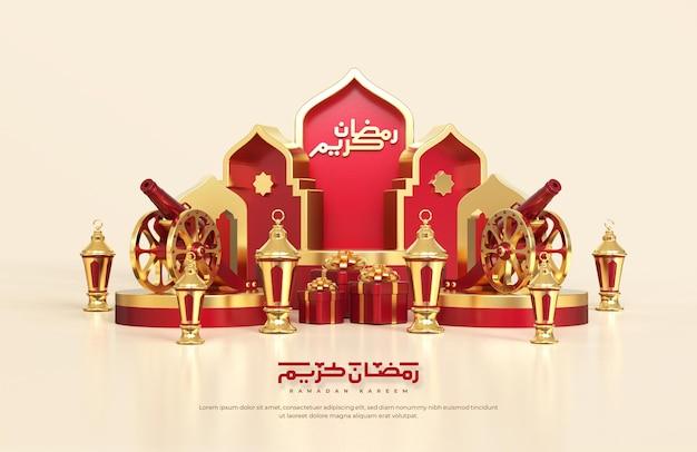 Salutations De Ramadan Islamique, Composition Avec Lanterne Arabe 3d, Coffret Cadeau. Canon Traditionnel Et Podium Rond Avec Ornement De Mosquée Psd gratuit