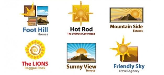 Sans coucher de soleil modèle de logo