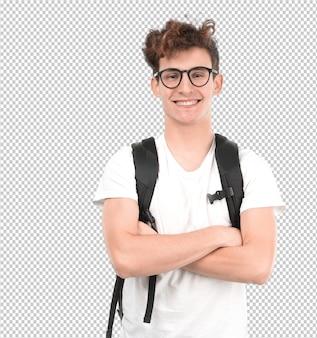 Satisfait jeune étudiant posant