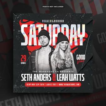 Saturday night party flyer bannière web de publication sur les médias sociaux