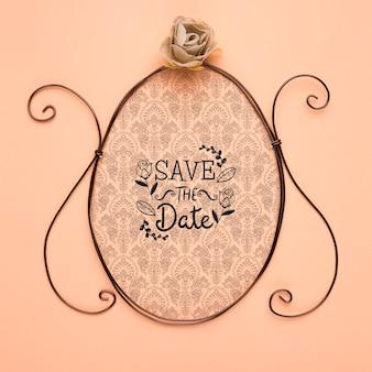 Sauvez le cadre vintage de la maquette de la date et la rose argentée