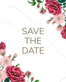 Sauvez la maquette de date avec des roses