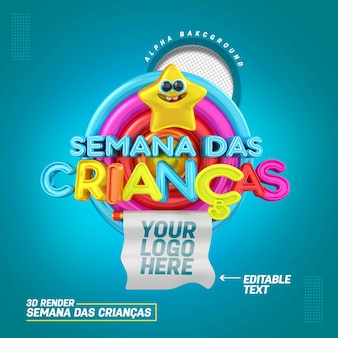 Sceau 3d en portugais pour la composition promotions et offres de produits de vente de la semaine des enfants