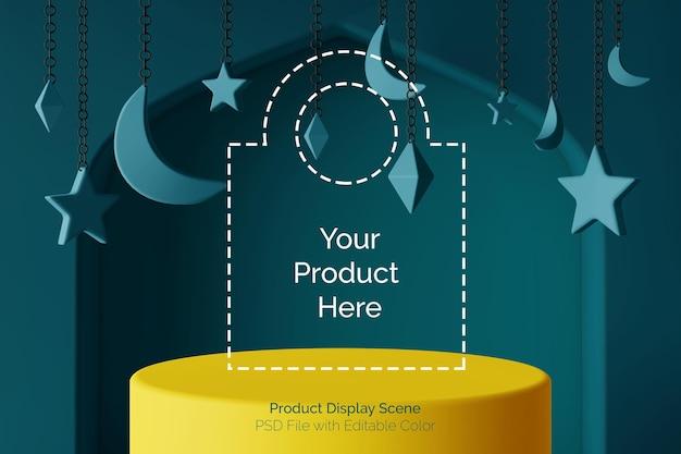 Scène 3d d'affichage de produit de podium réaliste de couleur avec le thème islamique de ramadhan