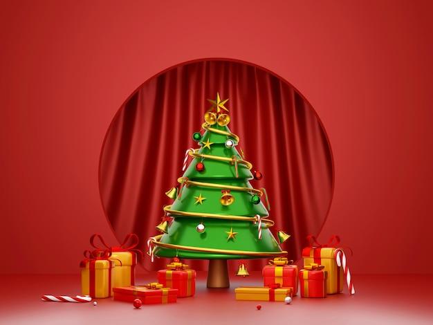 Scène d'arbre de noël et boîte-cadeau avec fond de rideau rouge